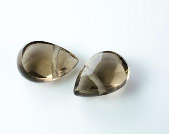 Smoky Quartz Faceted Pear Briolettes