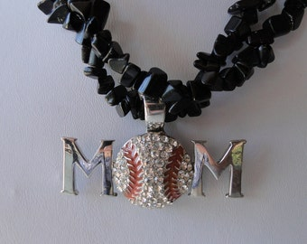 Baseball Mom Pendant on Black Chip Bead Necklace - Free Shipping