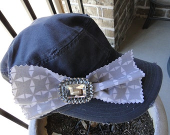 Bow and Bling on Cadet Cap - Free Shipping