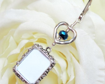 Wedding bouquet photo charm. Dark blue Crystal and small heart memorial charm. Something blue. Gift for the bride. Remembrance photo.
