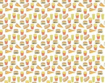 Junk Food / Tiny Food Fabric Hot Dogs Burgers Fries Novelty Food Fabric By Andrea Lauren Hot Dog Cotton Fabric By The Yard with Spoonflower