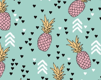 Aqua Blue and Pink Pineapple fabric designed by LittleSmileMakers- Modern Tropical Pineapples Cotton Fabric by the Yard with Spoonflower