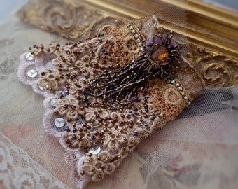 Beaded tassel lace cuff, Victorian bracelet cuff, bead embroidered Bohemian jewelry Marie Antoinette inspired antique lace wrist cuff