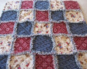 Western Cowboy Teddy Bear Baby Boy Rag Quilt Blanket 35x35