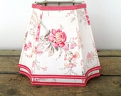 Floral Lamp Shade, Lampshade French Vintage Fabric 6x11x8.5 High - Inverted Cut Corner Rectangle - Great New Shape - Pretty Bedroom Shades