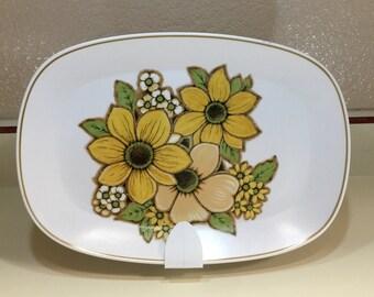 Vintage 1970s Baycrest Yellow Flower Platter Susan