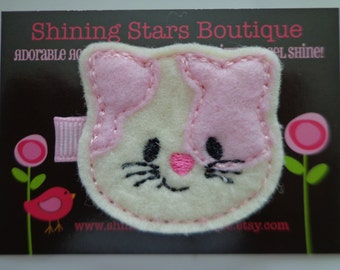 Felt Hair Clips - Girls Hair Accessories - Light Pink, Ivory, And Hot Pink Embroidered Boutique Felt Kitty Cat Hair Clippie