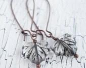 Autumn Leaf Earrings - Clear and Black Czech Glass Maple Leaf Earrings
