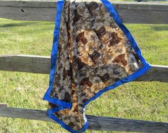 Handcrafted Cowboy Boot/Western Saddles Fleece Baby Blanket Lightweight