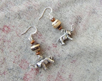 Handcrafted ELEPHANT Silver Plated Metal Charm Beaded Dangle Earrings