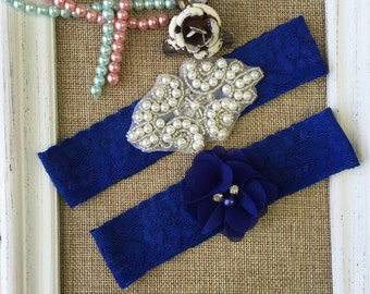 Wedding garter , lace wedding garter , bridal garter set , vintage lace garter , toss garter , royal blue garter
