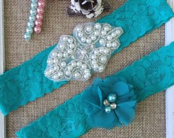 Wedding garter , lace wedding garter , bridal garter set , vintage lace garter , toss garter , teal wedding garter