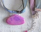 Pink Sugilite Gemstone Healing Pink Blue Green Ribbon Necklace