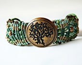 Tree of Life Micro Macrame Bracelet in Myrtle Green, Turquoise and Tan - Macrame Bracelet
