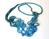Free Form Macrame Necklace - Blue Waters -FreeForm Micro Macrame - OOAK
