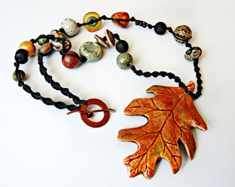 Leaf Micro Macrame Necklace with Artisan Ceramic Pendant - Autumn Leaves - Fall - Macrame Jewelry - OOAK Handmade Necklace