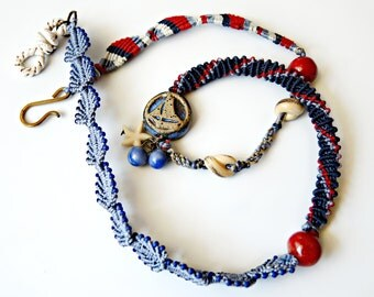 Nautical Micro Macrame Wrap Bracelet with Artisan Beads - Sailboat Bead - Sea Theme - Macrame Jewellery