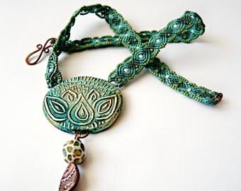 Lotus Flower Macrame Necklace - Serene - Serenity - Namaste - Micro Macrame Necklace