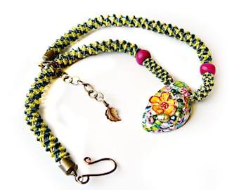 Colorful Macrame Necklace - Floral - Focal - Micro Macrame Spiral - Artisan Pendant