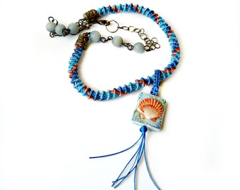 Spiral Micro Macrame Necklace With Porcelain Seashell Bead Blue and Coral