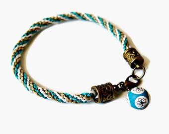 Twisted Macrame Bracelet - Micro Macrame - Teal, Khaki and White Bracelet - Artisan Polymer Clay Bead - Macrame Jewellery