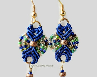 Small Green, Blue and Gold Colored Beaded Macrame Earrings MicroMacrame