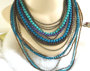 Multi Strand Beaded Necklace Vintage in Shades of Blue & Purple