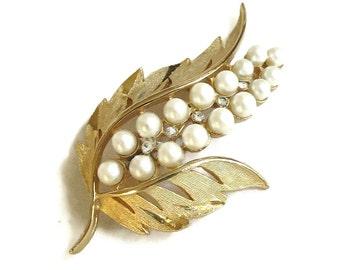 Vintage Faux Pearl & Rhinestones Leaf Brooch or Pin