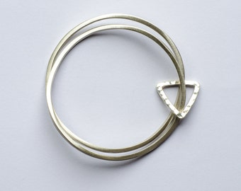 Sterling Silver Bangle Set Modern Love with Triangle Ring