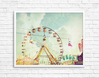 BUY 2 GET 1 FREE Ferris Wheel, Carnival Photography, Kids Room, Vintage Inspired, Candy, Skyride, Pastels -  Old Fashion Fun
