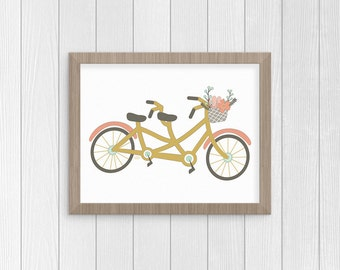 Digital Download Print, Wall Art Print, Tandem Bike, Digital Illustration, Bike Art, Instant Download, Bicycle Wall Art, Couple Gift