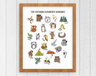 Animal ABC Print, Alphabet Print, Printable Art Kids Room, PDF Printable, PDF Instant Download, Nursery Alphabet, Forest Animal Sign