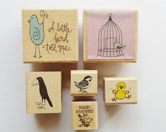 Bird / Cage / Owl / Raven / Hand Stamped By / Rubber Stamp Set