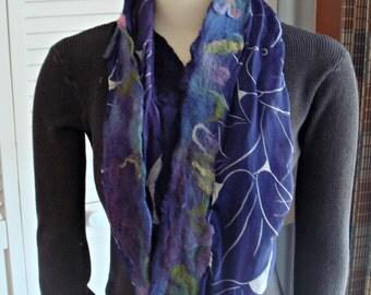 Felted Scarf, Nuno felted scarf, Infinity scarf, Circle scarf, silk scarf,