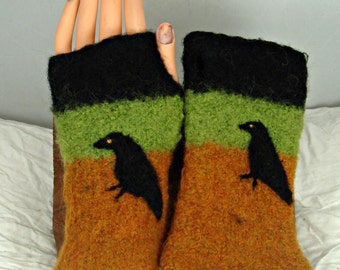 Fingerless gloves, felted gloves,crow art, arm warmers, wool gloves, felted mittens