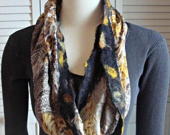 Nuno felted scarf,infinity scarf,silk chiffon scarf, felt scarf, wet felted scarf, wool scarf, silk scarf