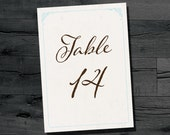 DIY Table Number for 5x7 frame or stand, instant download printable table numbers 1-40