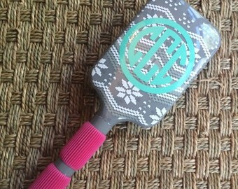 SALE Monogrammed Paddle Hair Brush Snowflakes
