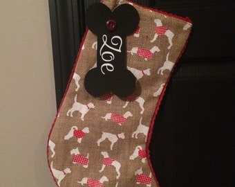 SALE Personalized Burlap Christmas Stocking for Your Dog