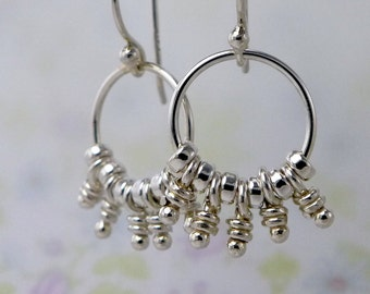 Knots sterling Silver Hoop Earrings, Rustic Chandelier, Dangle Knots, Organic Rustic Haru Earrings, Aroluna Handmade Jewelry