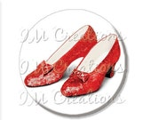 "SALE - Pocket Mirror, Magnet or Pinback Button - Wedding Favors, Party themes - 2.25""- Wizard of Oz Ruby Red Slippers MR411"