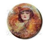 "SALE - Pocket Mirror, Magnet or Pinback Button - Wedding Favors, Party themes - 2.25""- Vintage 1920s Flapper Green Eyes MR355"