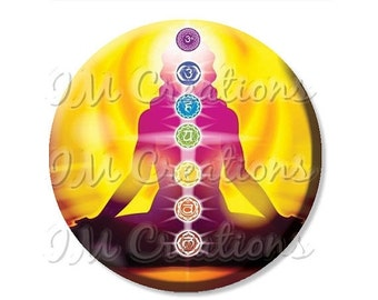 "50% OFF - Yoga Chakras Pocket Mirror, Magnet or Pinback Button - Wedding Favors, Party themes - 2.25"" MR454"