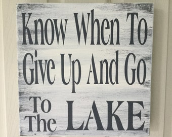 Lake sign, lake house sign, shabby chic, grey and white rustic wood sign, lake decor, lake rules, KerriArt item # 98765