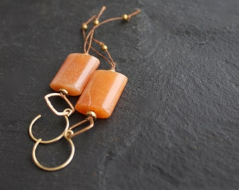 Orange Aventurine Stone, Gold Brass Dangle Drop Earrings - Rustic Brown Irish Linen Fiber Thread Metalwork Boho Jewellery