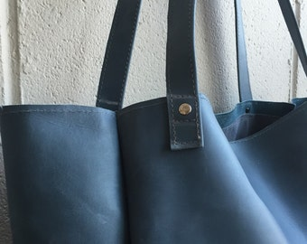 Gorgeous soft, simple and supple sofa grade blue cow hide leather handbag, tote, made in Montreal