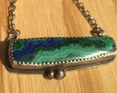 Sterling Silver Pendant with Azurite and Malachite
