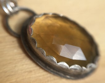 Sterling Silver Pendant with Beer Quartz