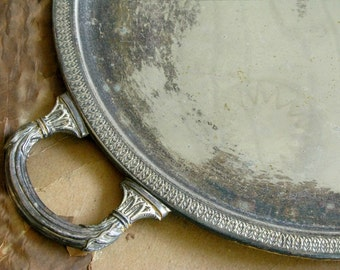 Vintage Silver Plate Tray | Round Serving Platter with Handles | Tarnished Silver | French Farmhouse Country Cottage Home Decor