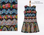Joan Curtis Vintage Dress Summer Dress Sleeveless Dress Floral Dress Hippie Dress Rockabilly Dress Retro Dress